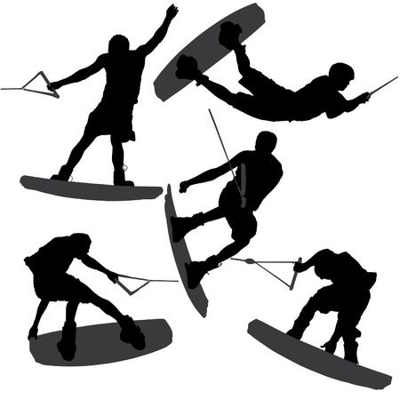 wakeboarding: Wakeboarding Silhouette on white background