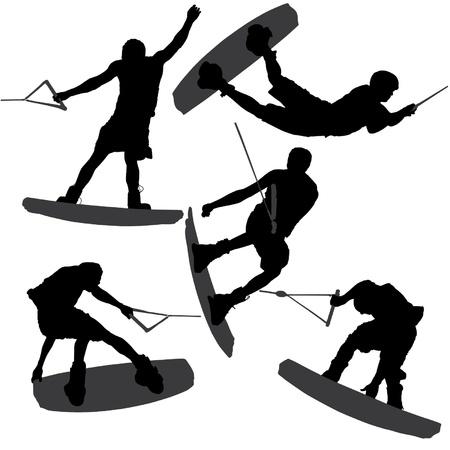 deslizamiento: Wakeboarding Silueta sobre fondo blanco Vectores