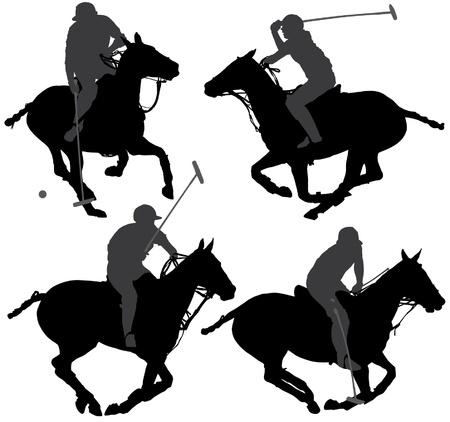 jockey: Jugador de polo Silueta sobre fondo blanco Vectores