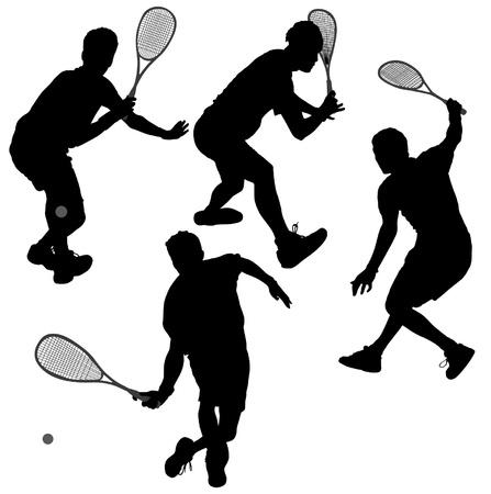 squash: Squash players Silhouette on white background