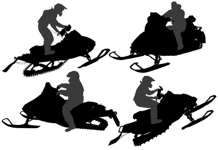 snow track: Snowmobiling Silhouette on white background