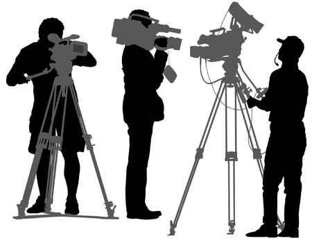 broadcasting: Camar�grafo silueta sobre fondo blanco