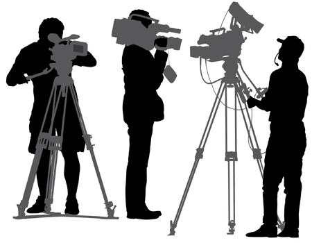 omroep: Cameraman Silhouet op witte achtergrond Stock Illustratie