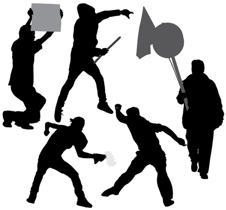 Rioter Silhouette on white background Vector