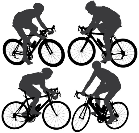 mountain bicycle: Ciclismo Silhouette su sfondo bianco Vettoriali