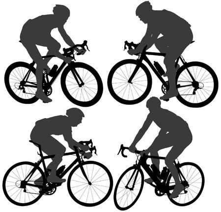 fahrradrennen: Radfahren Silhouette auf wei�em Hintergrund Illustration