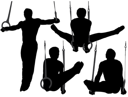 muscular men: Gymnastics Rings Silhouette on white background
