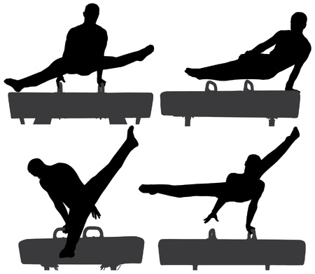 gymnastik: Gymnast am Pauschenpferd Silhouette auf wei�em Hintergrund