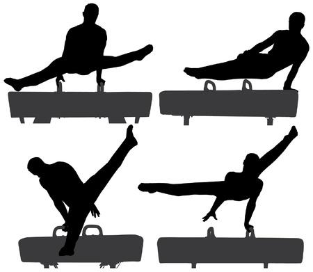 gymnastik: Gymnast på Bygelhäst Silhouette på vit bakgrund