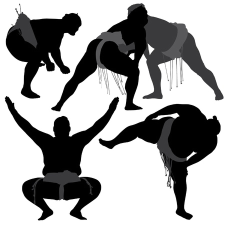 Sumo Wrestling Silhouette on white background