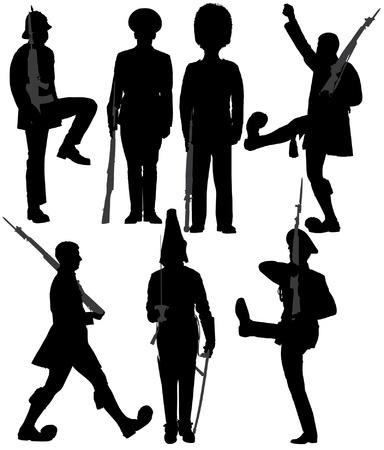 soldat silhouette: Garde Soldier Silhouette sur fond blanc Illustration