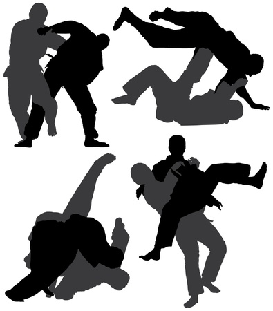 aikido: Judo Silhouette on white background Illustration