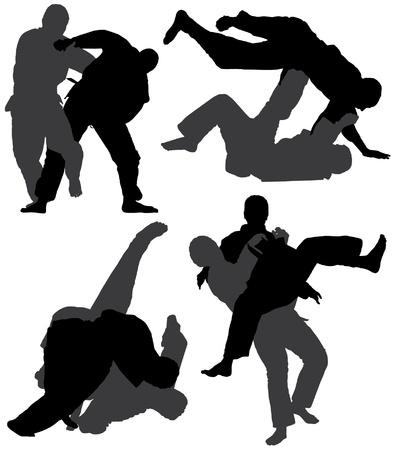 tae: Silueta de Judo en el fondo blanco Vectores