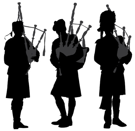 scottish: Bagpiper Silhouette on white background