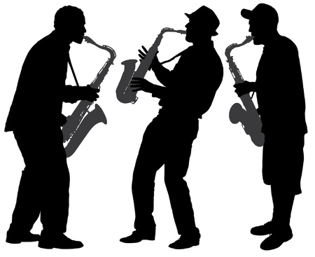 saxophone: Saxophone Player Silhouette on white background Illustration