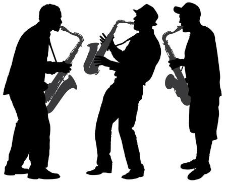saxofon: Silhouette Saxophone Player en el fondo blanco