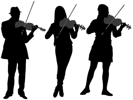 musician silhouette: Violinist Silhouette on white background