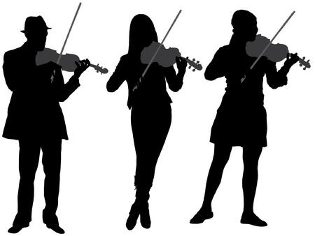 violinista: Violinista Silueta sobre fondo blanco