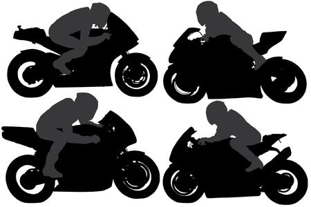 motocycle: Superbike Silhouette on white background