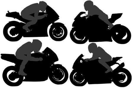 motocycle: Superbike Silhouette on white background