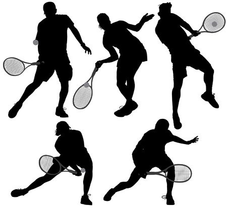 Tennis Player Silhouette on white background