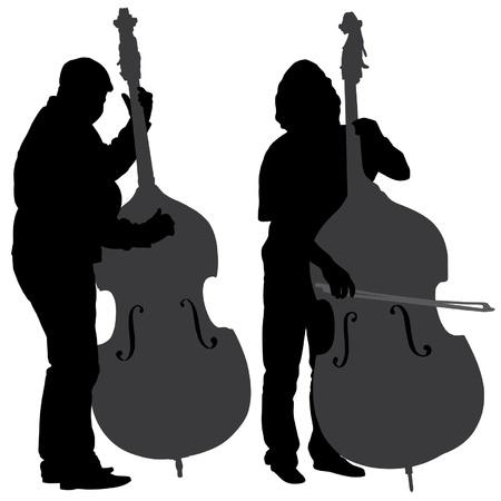 sosie: Bass Player Silhouette sur fond blanc