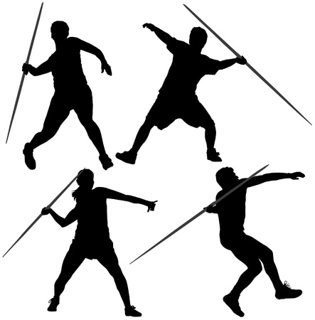 javelin: Javelin Thrower Silhouette on white background Illustration