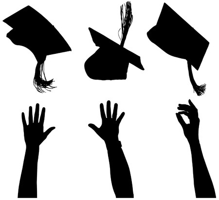 college graduation: Tossing mortarboard Silhouette on white background