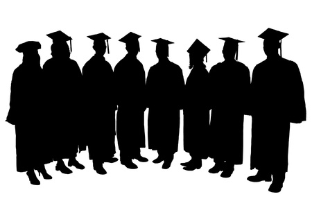 graduate hat: Graduates Silhouette on white background Illustration