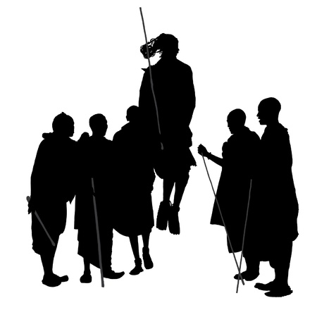 adult kenya: African Dancing People Silhouette on white background Illustration