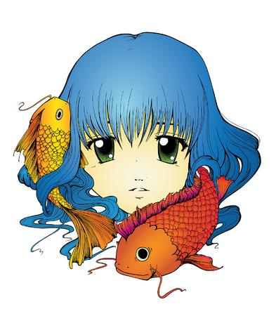 Anime girl with koi carp in long blue hair
