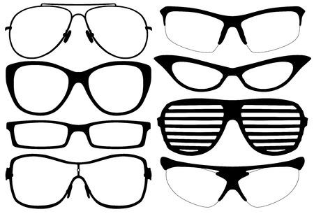 eyewear glasses: Glasses Silhouette Set on white background
