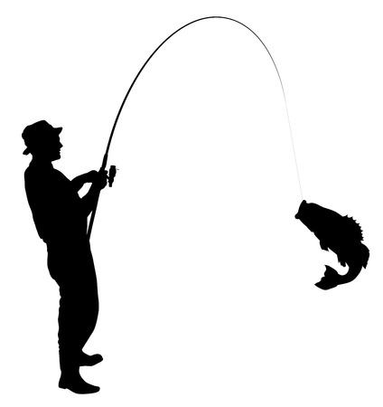 sport fishing: Fisherman caught a fish silhouette