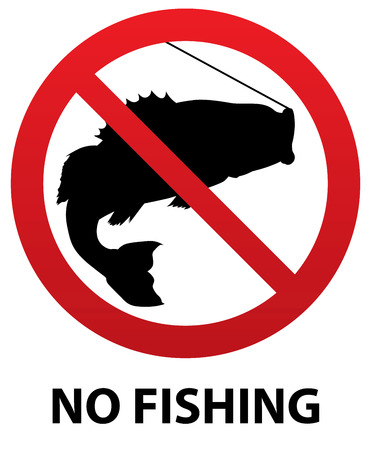 bass fish: No Fishing Sign with Fish Silhouette inside Illustration