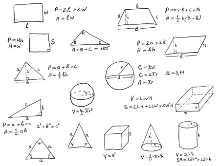 mathematical symbol: Background with hand written geometry formulas and geometric shapes and figures on white paper