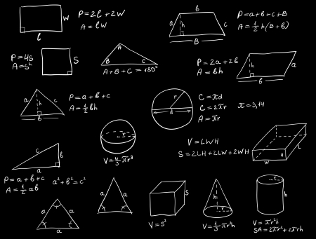 theorem: Background with hand written geometry formulas and geometric shapes and figures on blackboard Illustration