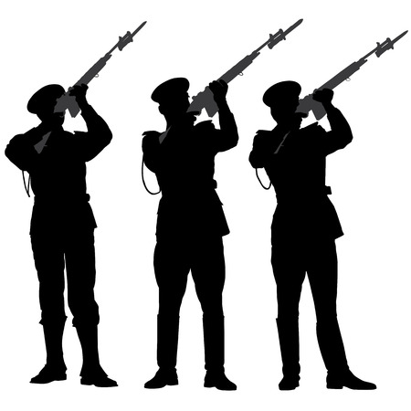 guard duty: Guardia de honor Silueta dispar� una salva en memoria en el fondo blanco Vectores