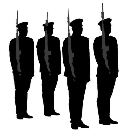 silhouette soldat: Garde d'honneur Silhouette sur fond blanc