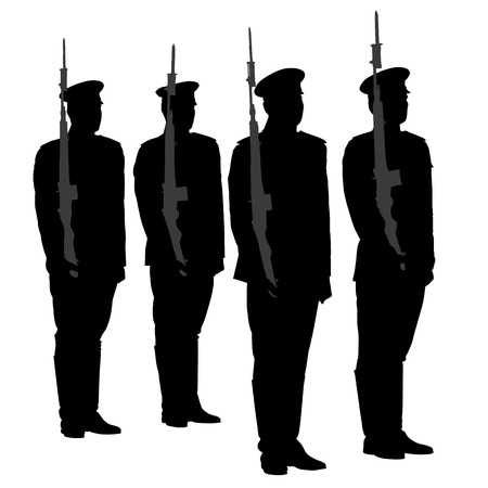 honor guard: Honor Guard Silhouette on white background Illustration