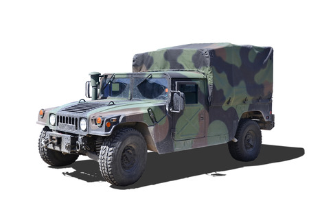 Military Dirty Humvee on a white background.