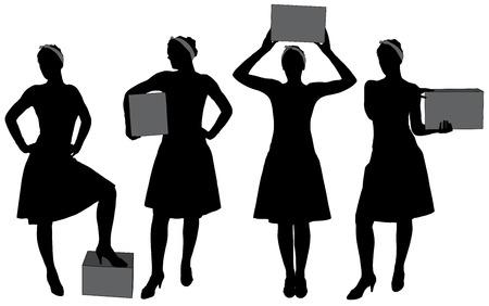 carrying box: Mujer llevando caja. Entrega de correos servicio silueta