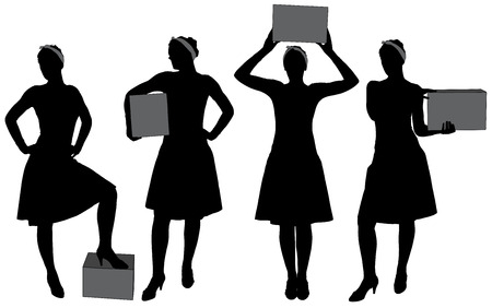 carrying box: Woman carrying box. Courier delivery service silhouette
