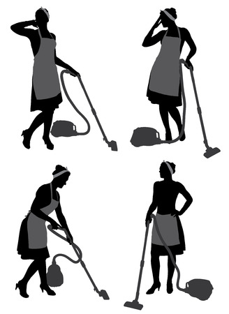 the maid: Cleaning Lady Housewife With Vacuum Cleaner Silhouette on white background