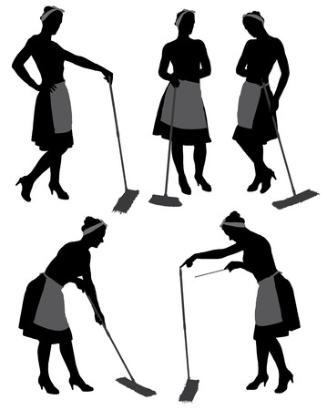 アダルト クリーナー メイド女性シルエット モップ、ユニフォーム、白い背景で隔離の床のクリーニング