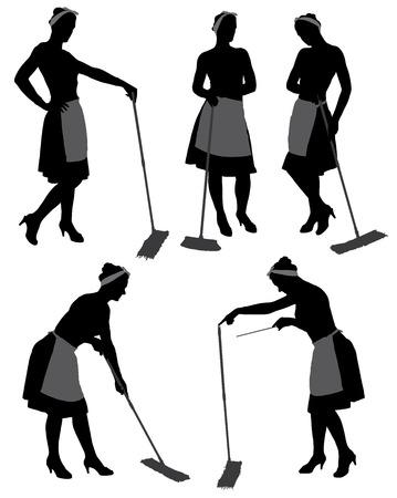 servicio domestico: Limpiador de adultos silueta mujer de limpieza con la fregona y el piso de la limpieza uniforme, aislado en fondo blanco