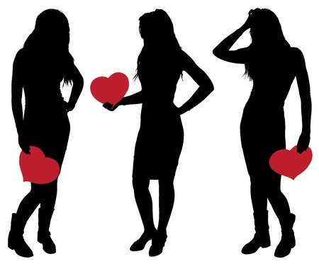 Silhouette of a Beautiful Girl Holding a Heart