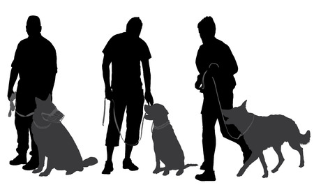 Man walking his dog Silhouette on white background Vector