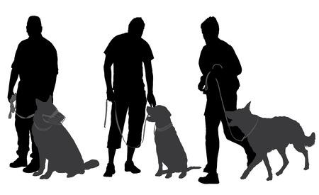 Man walking his dog Silhouette on white background Illustration