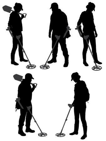 detecting: Metal Detecting silhouette on white background