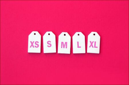 Various clothing sizes XS, S, M, L, XL on white wooden tags on a pink background.